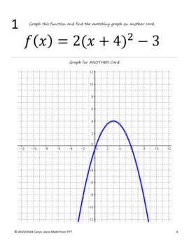 Graphing Quadratic Equations in Vertex Form~Walk-Around Activity- Lv 2-Scavenger