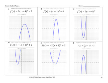 Graphing Quadratic Equations in Vertex Form~Walk-Around Activity- Lv 2-Scavenger