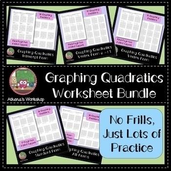Graphing Quadratics Worksheet Bundle