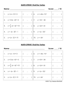 Graphing Quadratic Functions Activity: Math Sprint