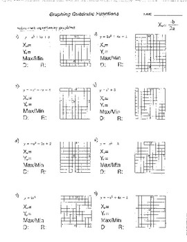 Graphing Quadratic Functions Equations Domain & Range 6+Wrksts + 2Quizzes