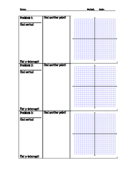 Graphing Quadratic Functions - Group Activity