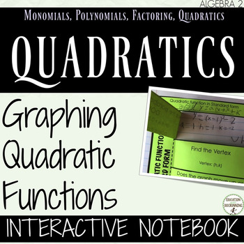 Graphing Quadratic Functions Interactive Notebook for Algebra 2