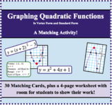 Graphing Quadratic Functions (Parabolas) Matching Activity