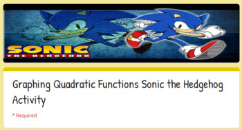 Graphing Quadratic Functions Sonic The Hedgehog Google Activity Tpt