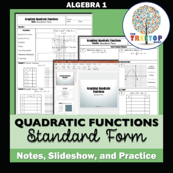 Graphing Quadratic Functions Standard Form Notes Powerpoint