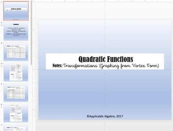 Quadratic Functions - Transformations (Vertex Form) Notes, PPT, HW, Graphic Org.