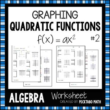 graphing quadratic functions f x ax 2 algebra worksheet by pecktabo math. Black Bedroom Furniture Sets. Home Design Ideas