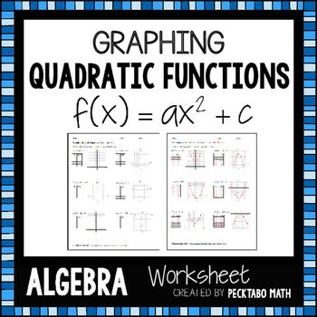 Graphing Quadratic Functions f(x)=ax^2+c ALGEBRA Worksheet