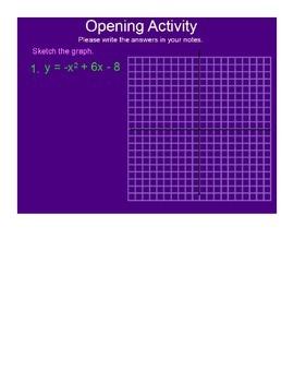 Graphing Quadratic Inequalities SmartBoard Lesson