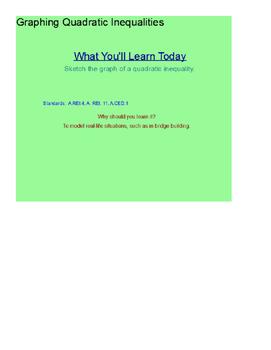 Graphing Quadratic Inequalities SmartBoard Lesson Algebra I