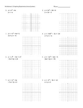 Graphing Quadratic Systems Worksheets-Practice Pages