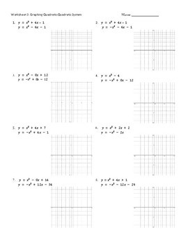 graphing quadratic systems worksheets practice pages by caryn loves math. Black Bedroom Furniture Sets. Home Design Ideas