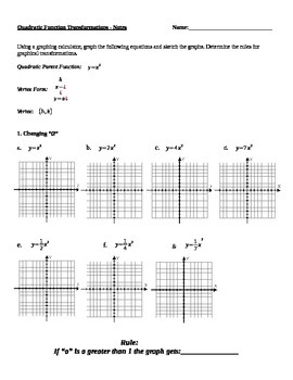 Graphing Quadratic Transformantions Notes