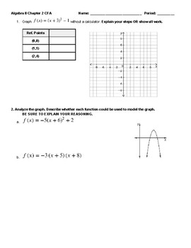 Graphing Quadratic Translations Mini-Assessment and KEY by