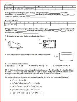 Graphing Quadratics 2012 (Editable)