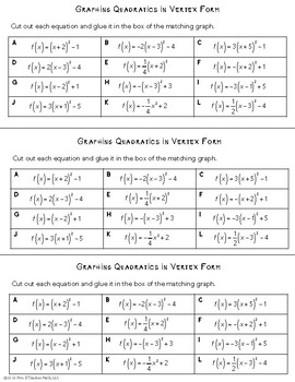 Graphing Quadratics Cut and Paste Worksheet