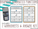 Graphing Quadratic Functions - Worksheet for TI Calculators