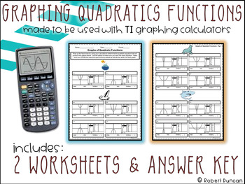 graphing quadratic functions worksheet for ti calculators - Graphing Quadratic Functions Worksheet