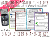 Graphing Quadratic Functions Worksheet for TI Calculators