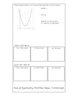 Graphing Quadratics Foldable