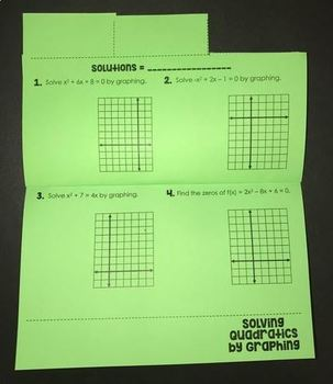 Graphing Quadratics (Foldable for Algebra 1)