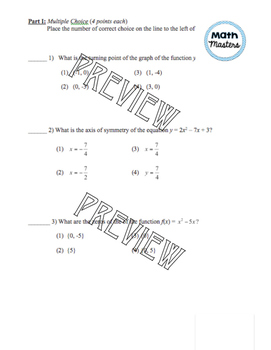 Graphing Quadratic Functions Test
