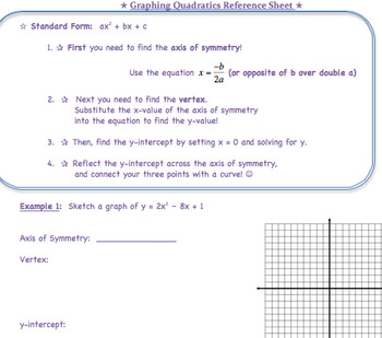 Graphing Quadratics Guided Notes, Practice, and Assessment