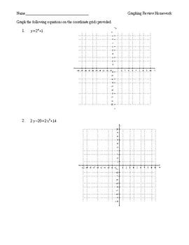 Graphing Quadratics Homework