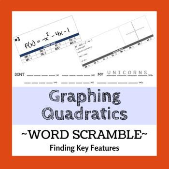 Graphing Quadratics (Key Features) Word Scramble