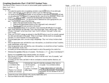 Graphing Quadratics Part I with Student Notes Page Fall 2015 (Editable)