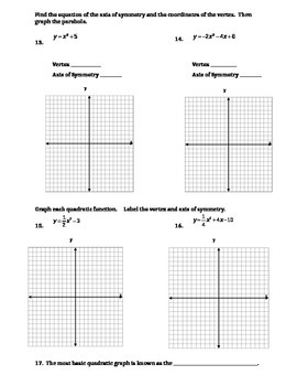 Graphing Quadratics Quiz