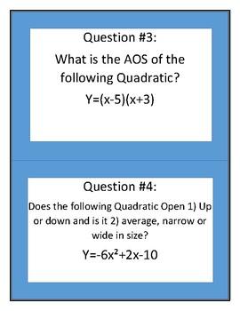 Graphing Quadratics Review