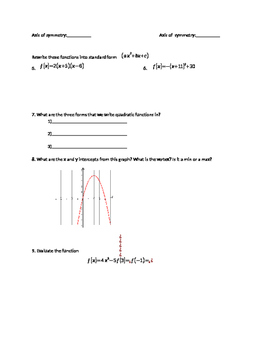 Graphing Quadratics Review Sheet
