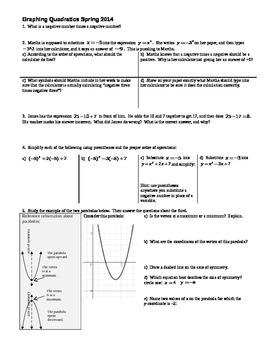 Graphing Quadratics Spring 2014