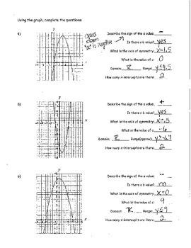 Graphing Quadratics - Standard Form KEY