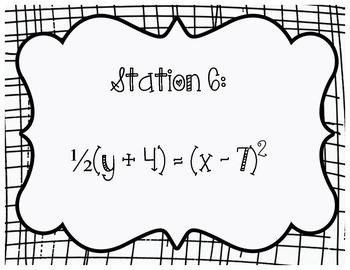 Graphing Quadratics Stations