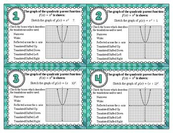 Graphing Quadratics Using Transformations Task Cards