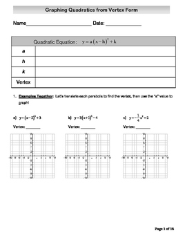 Graphing Quadratics from Vertex Form Packet