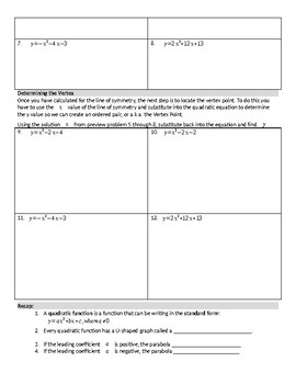 Graphing Quadratics in Standard Form - Guided Notes
