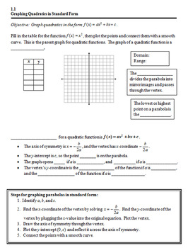 Graphing Quadratics in Standard Form Notes and Worksheet