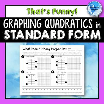 Graphing Quadratics In Standard Form Thats Funny Worksheet Tpt