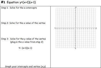 Graphing Quadratics in Standard Form and in Factored Form Investigation Activity