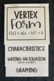 Graphing Quadratics in Vertex Form (Algebra Foldable)