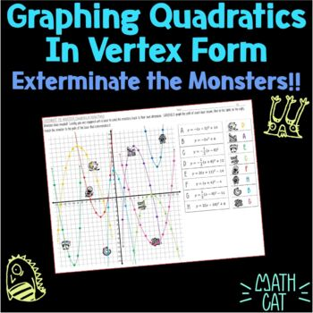 Graphing Quadratics in Vertex Form- Exterminate the Monsters!