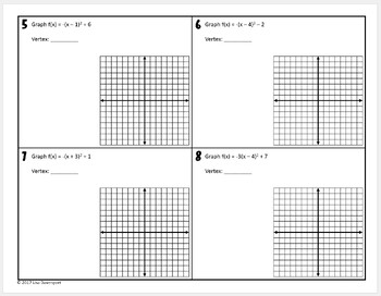 graphing quadratics in vertex form practice worksheet by lisa davenport. Black Bedroom Furniture Sets. Home Design Ideas