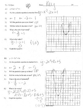 Graphing Quadratics standard form review practice a b c up down max min vertex