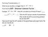 Graphing Quadratics when a>1 graphic organizer