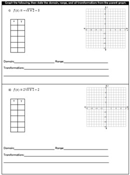 Graphing Radical Functions Quiz - 2 versions included!