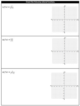 Graphing Rational Functions Guided Notes and HW